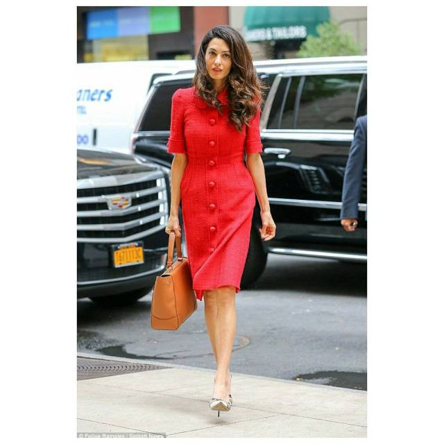 Amal Clooney Hot in Red
