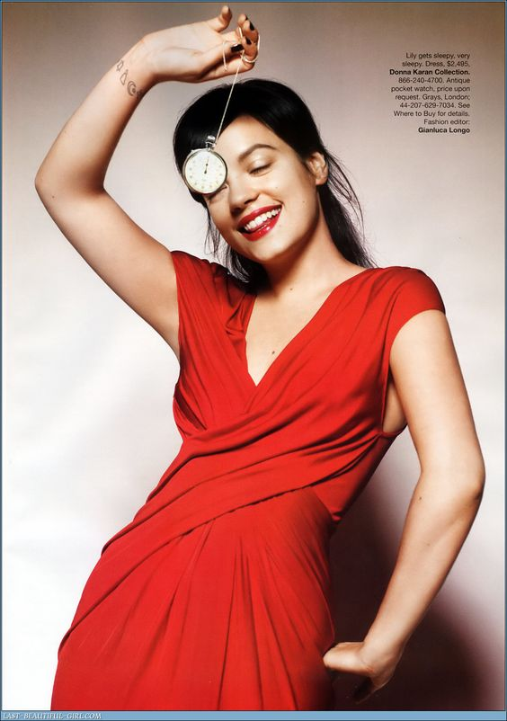 Lily Allen hot in Red