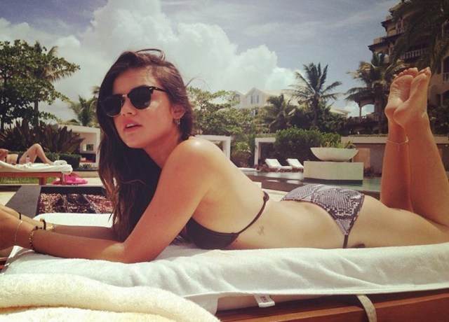 lucy hale in beach