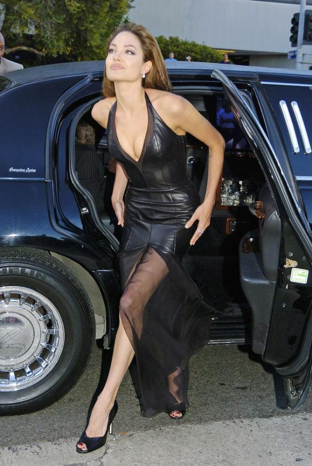 Angelina Jolie sexy cleavage in black