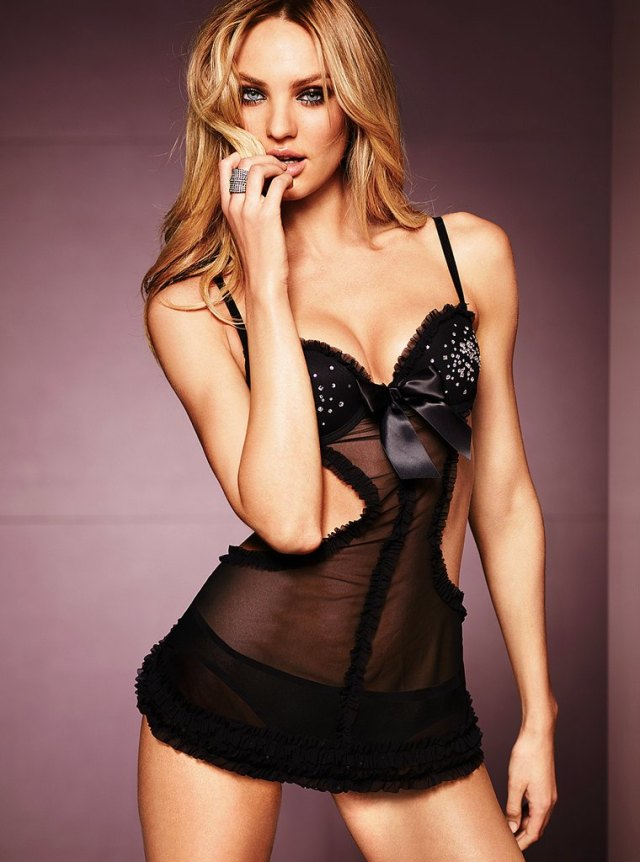 Candice Swanepoel Hot in Black Lingerie