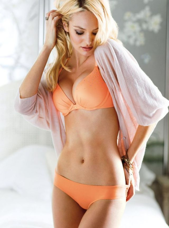 Candice Swanepoel Hot in Orange Bikini