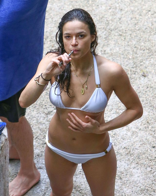 Michelle-Rodriguez-Hot-in-White-Bikini