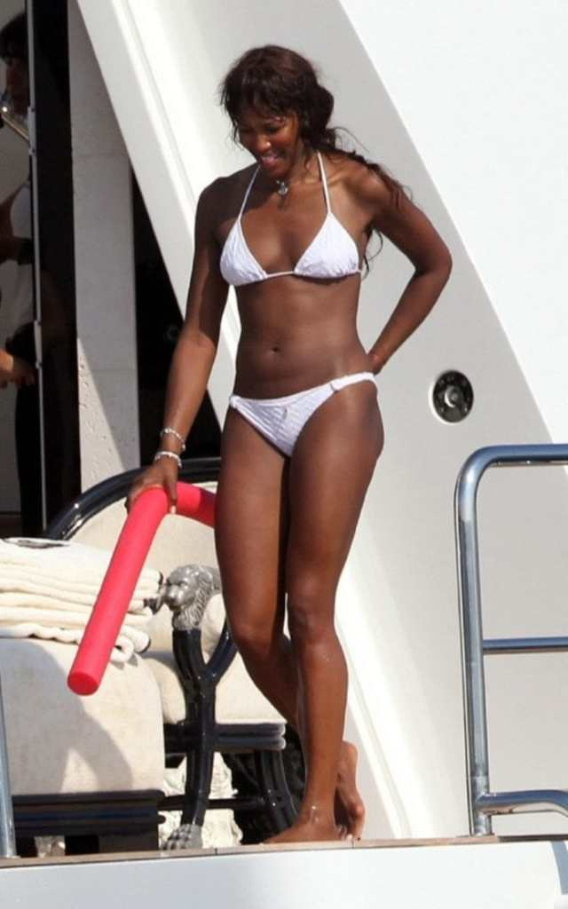 Naomi Campbell on White Bikini
