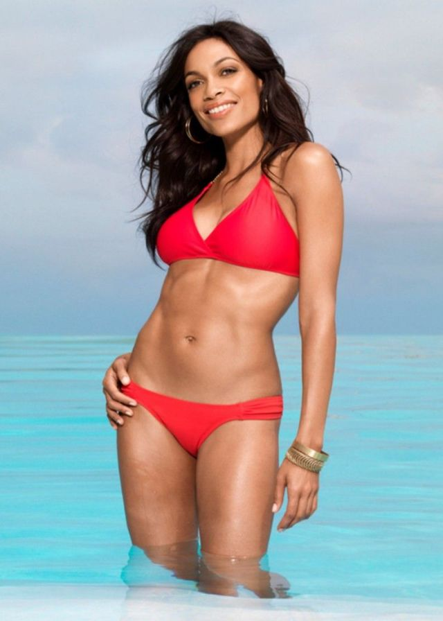 Rosario Dawson Hot in Red Bikini