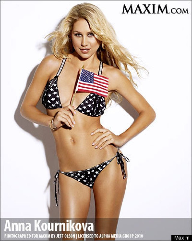 Anna Kournikova sexy national flag