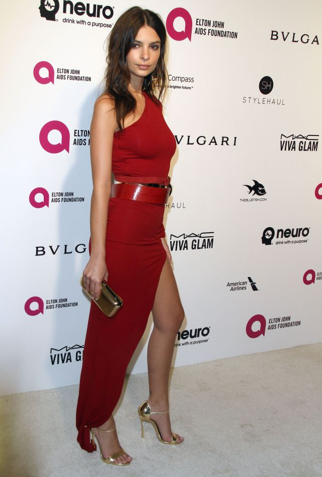 Emily Ratajkowski sexy in red