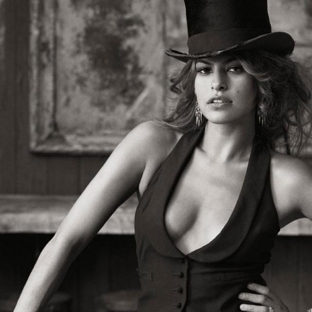 Eva Mendes Sexy Boobs Pictures wearing Hat