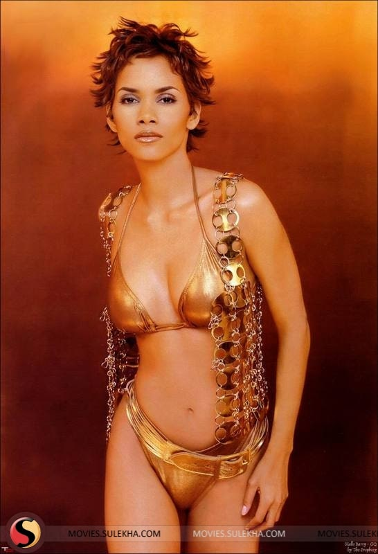 Halle Berry Sexy Boobs Pictures on Golden Colour