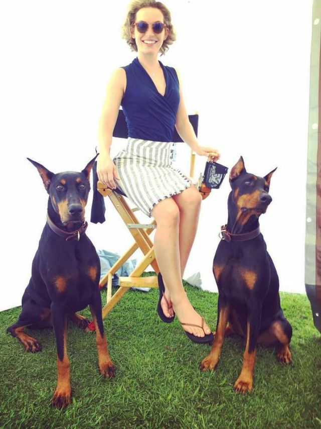 Perdita Weeks with dogs