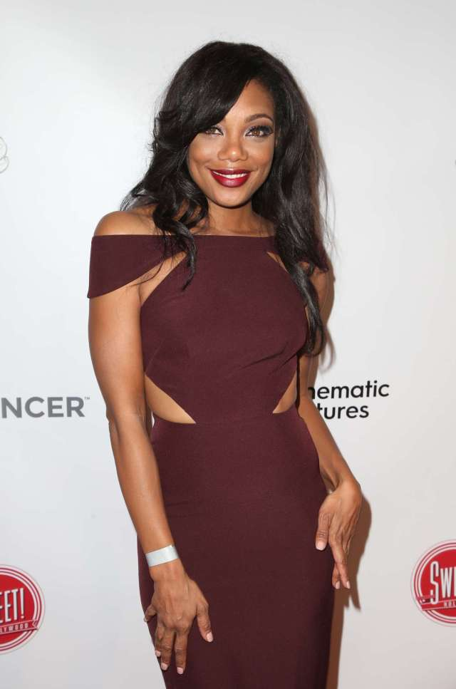 Tiffany Hines Hot in Brown Dress