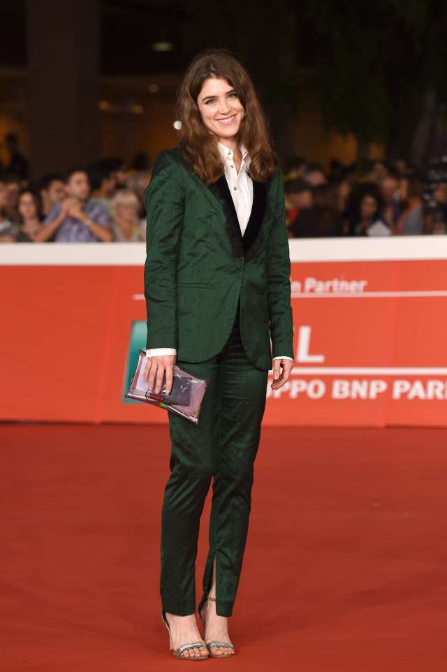 Lucy Griffiths green coat