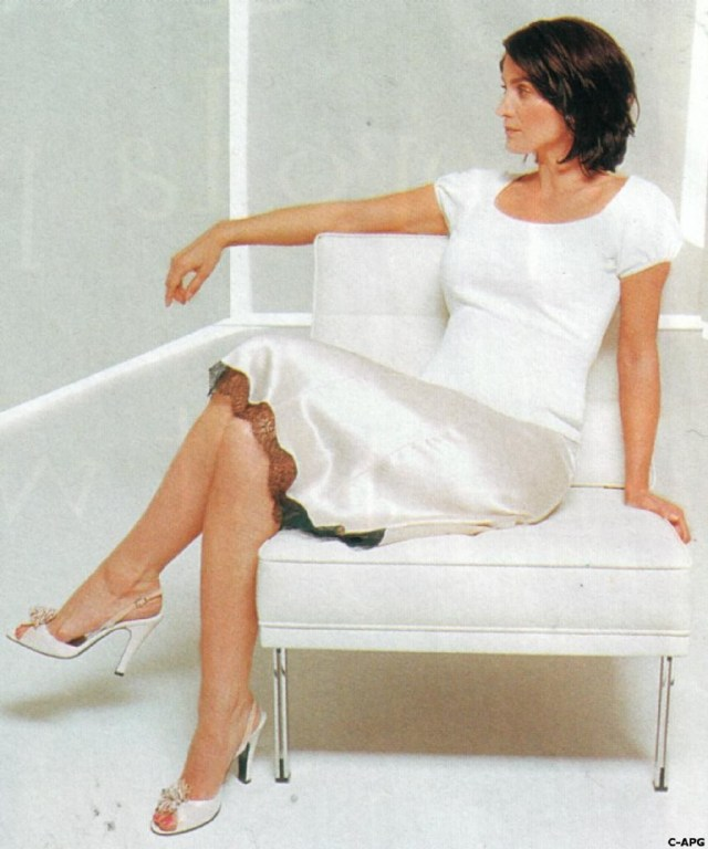 Carrie Anne Moss Hot in White Dress