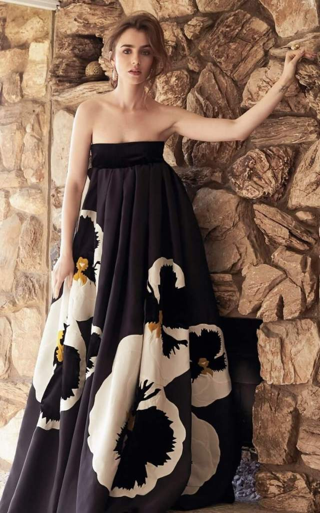 Lily Collins long dress pic