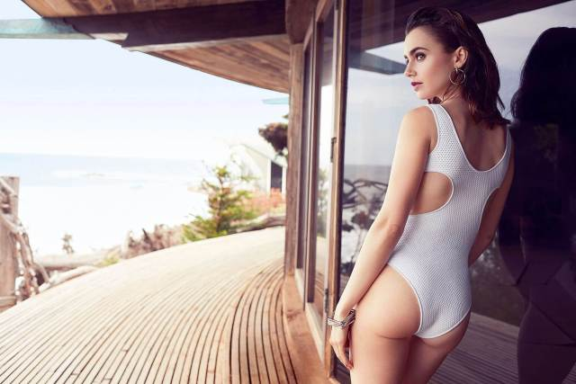 Lily Collins sexy ass pic