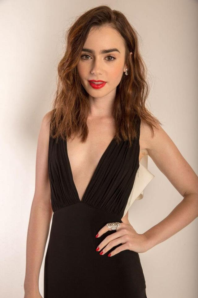 Lily Collins sexy cleavage phoot