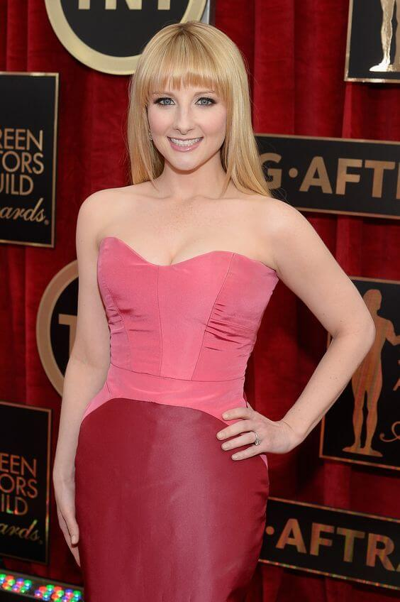 Melissa Rauch pink sexy dress
