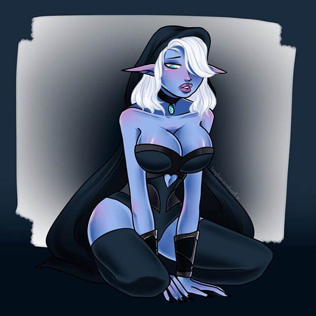 Traxex the Drow Ranger awesome cleavage
