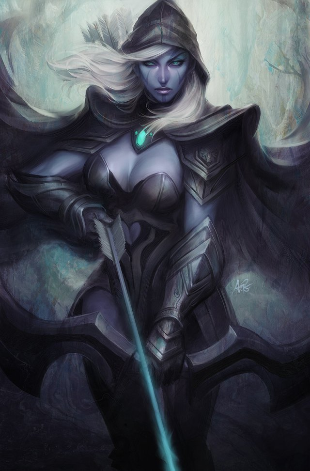 Traxex the Drow Ranger sexy cleavage