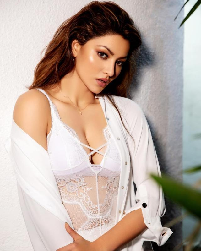 Urvashi Rautela Sexy Big Boobs Pictures on White Lingerei