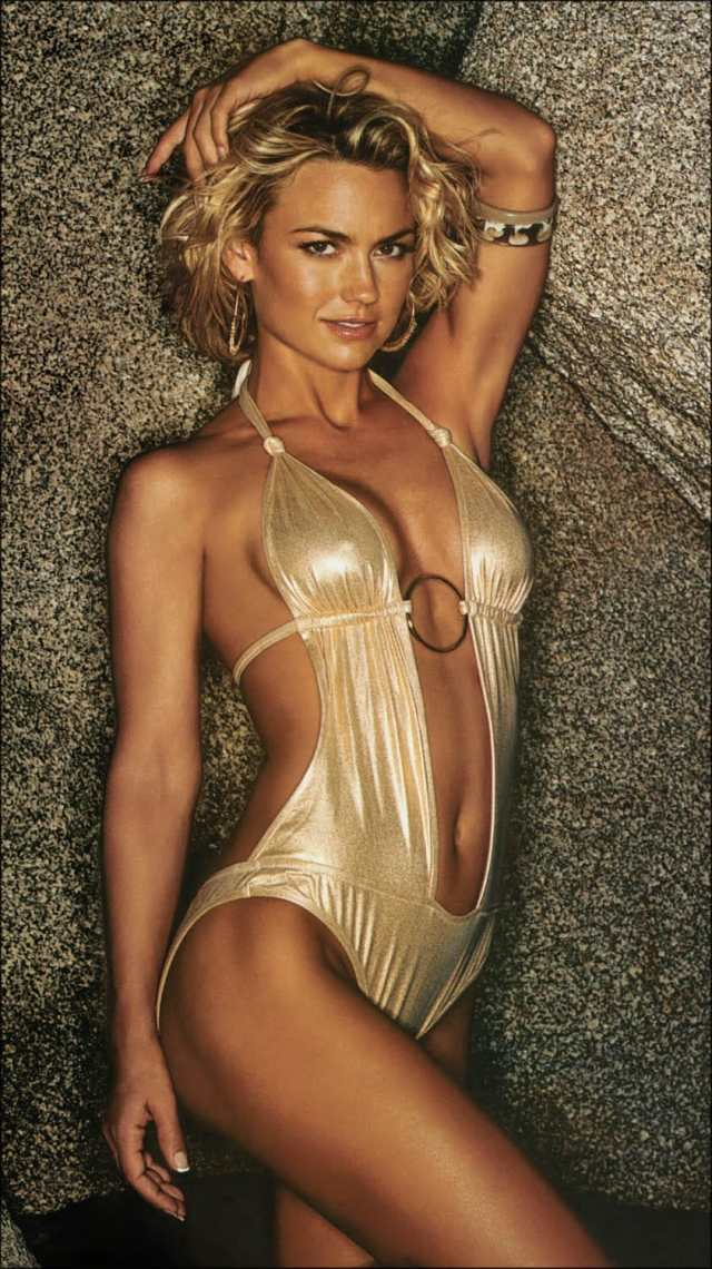 Kelly Carlson on Golden Swimming Costume