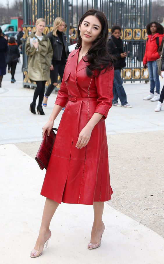 Kitty Zhang Hot in Red Dres