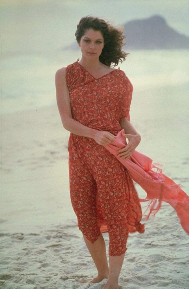 Lois Chiles sexy long red dress pic