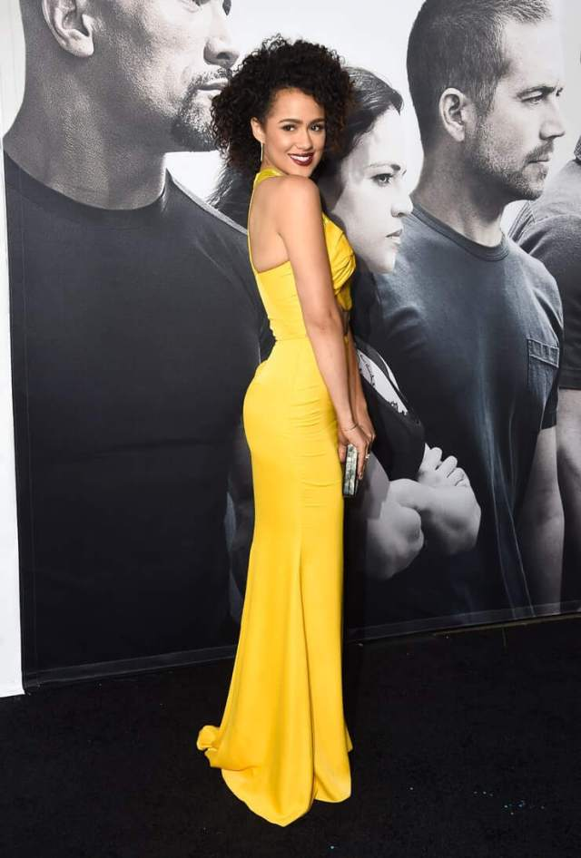 Nathalie Emmanuel sexy yelow dress