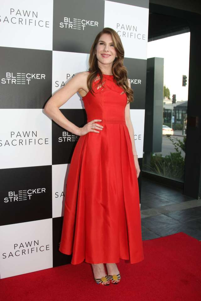 Lily Rabe long red dress pic