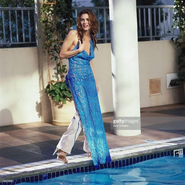 Paige Turco long blue dress