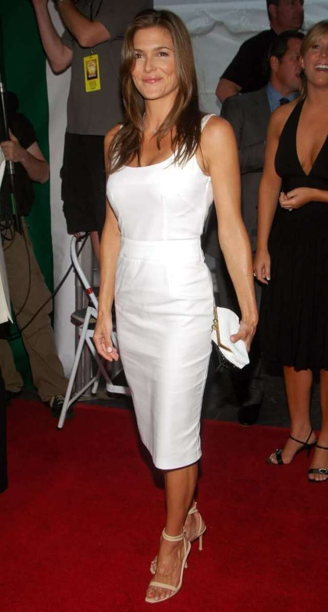 Paige Turco sexy white dress