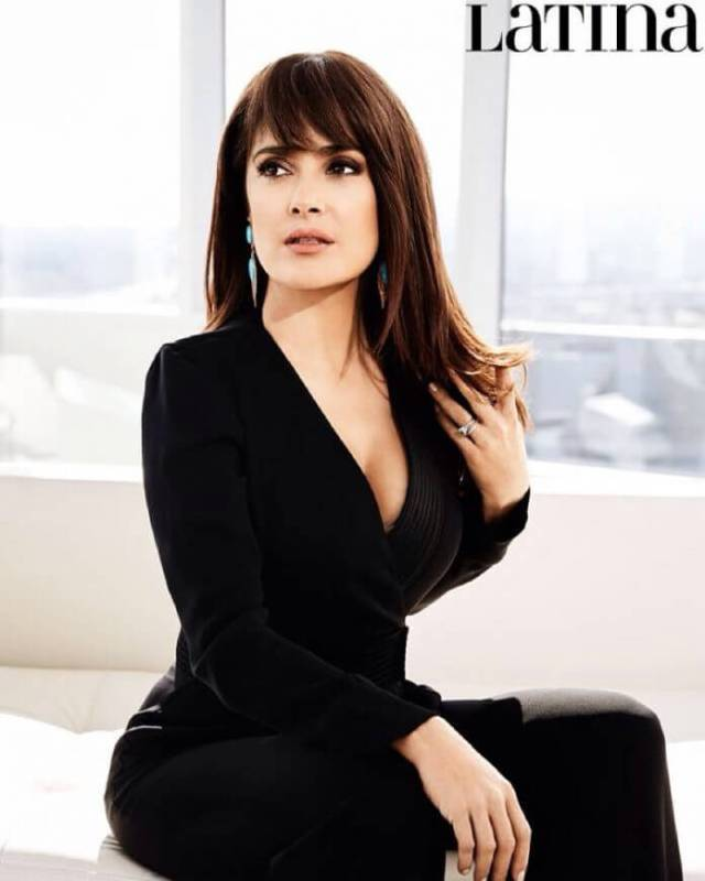 salma hayek sexy black dress
