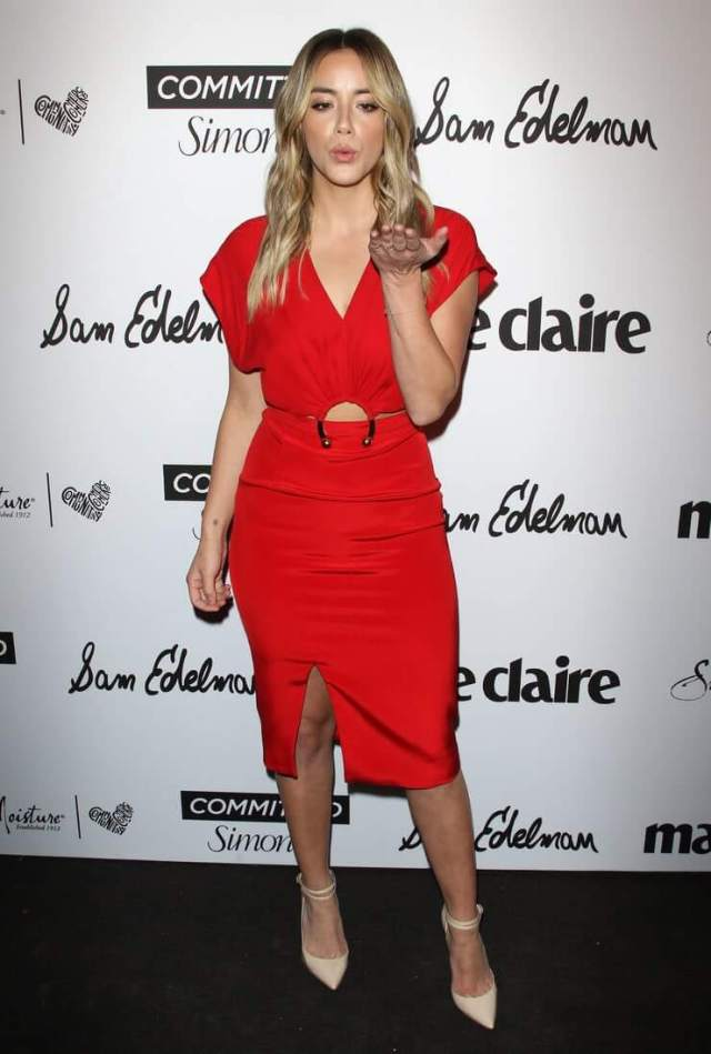 chloe bennet hot red dress