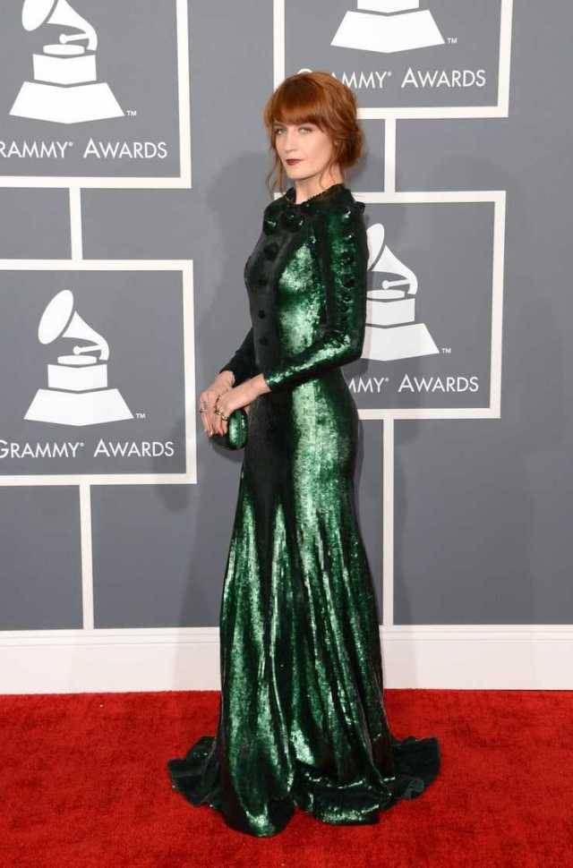 Florence Welch sexy green dress