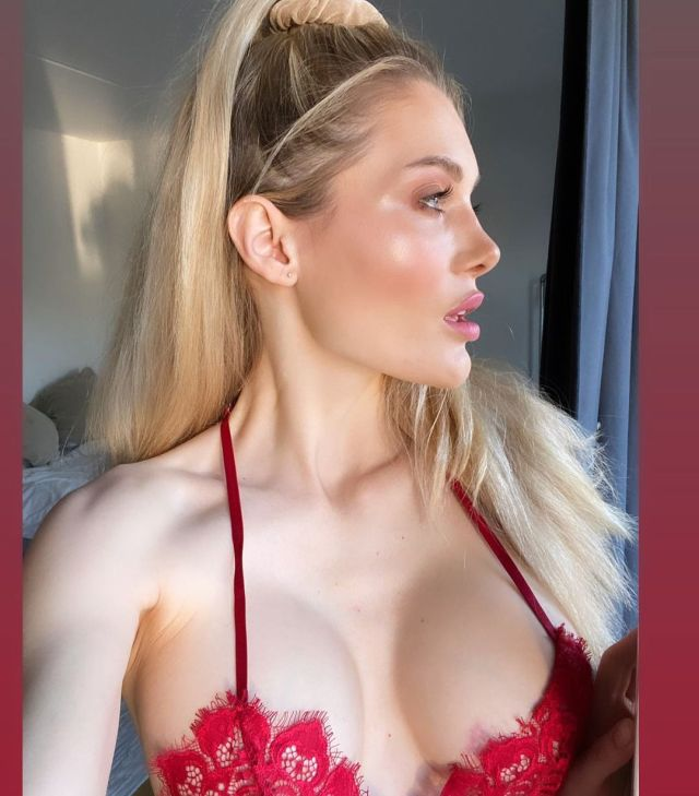 Anna Opsal red lingerie