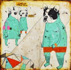 Nice Pecs-mixed media print on wood