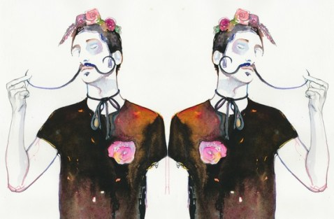 Watercolor Fashion Illustration - Model ink twins Dali's roses print 11x17