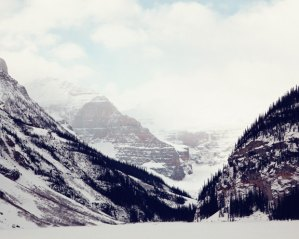 Frozen Lake Louise in the Canadian Rockies
