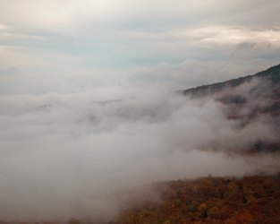 Above the fog and clouds in the Appalachian Mountains.