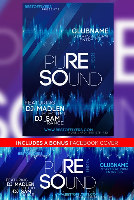 Pure Sounds Night Free Flyer Template   Free Electro Flyer Templates Home   Club Flyers