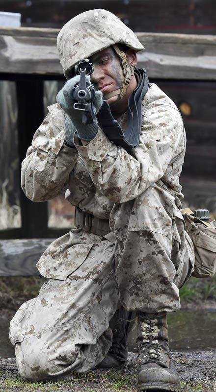 A Marine recruit is seen here during the crucible, the final test before becoming a Marine, when teachers from around New England got a chance to see what life would be like for Marine recruits during the Marine Corps Educator Workshop at Parris Island in South Carolina on Wednesday, Feb. 25, 2015.