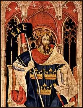[Picture - Tapestry: King Arthur as one of the Nine Worthies]