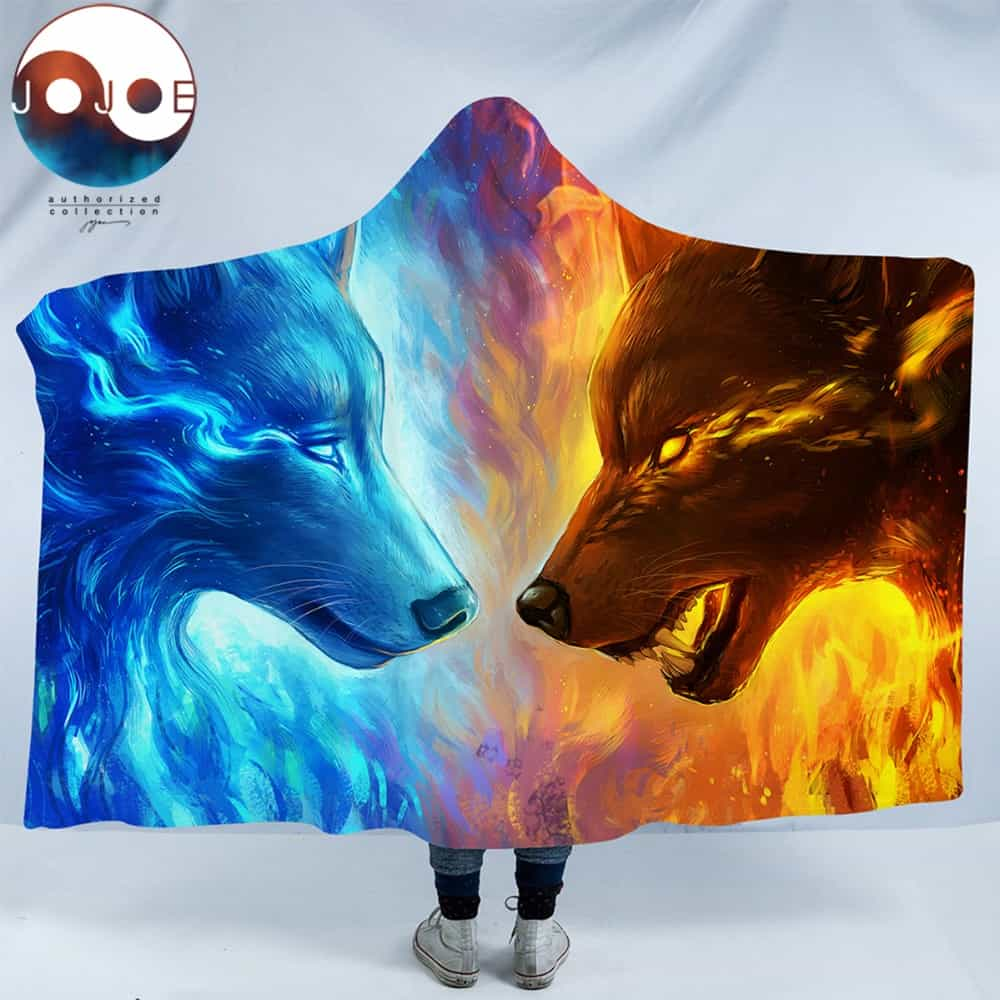 Fire And Ice Wolves Native American Design Hooded Blanket