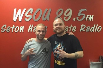 Hatebreed's Jamey Jasta with an SOU employee.