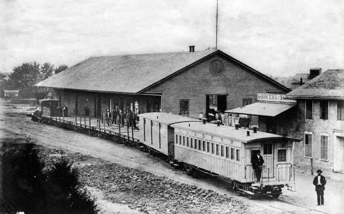 The Los Angeles & San Pedro Railroad was Southern California's first railroad. Its 21 mile line from San Pedro Bay to Los Angeles was built from 1868 to 1869 and began operations on October 26, 1869. The railroad was the brainchild of Phineas Banning and its primary purpose was to transport freight from the port to the city. The Los Angeles & San Pedro Railroad was purchased by the Southern Pacific Railroad in 1873. (photo circa 1880)