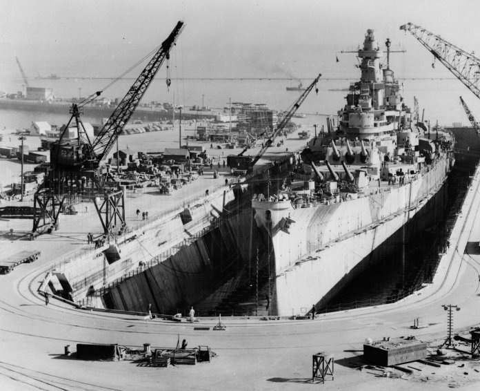 1945 - USS Iowa in drydock in San Francisco, undergoing repairs and modernization after being damaged during Typhoon Cobra