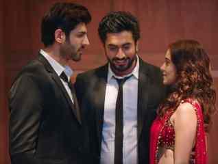 Kartik Aaryn, Nushrat Bharucha, and Sunny Singh in a movie still