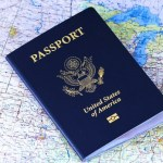 American Passport on top of Global map