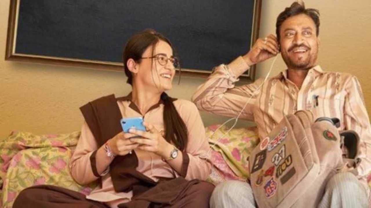 Radhika Madan and Irrfan Khan in Angrezi Medium movie