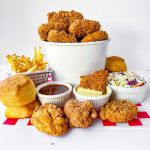 "Vegan Fried ""Chick'n"" basket with coleslaw, french fries, vegan honey mustard sauce"